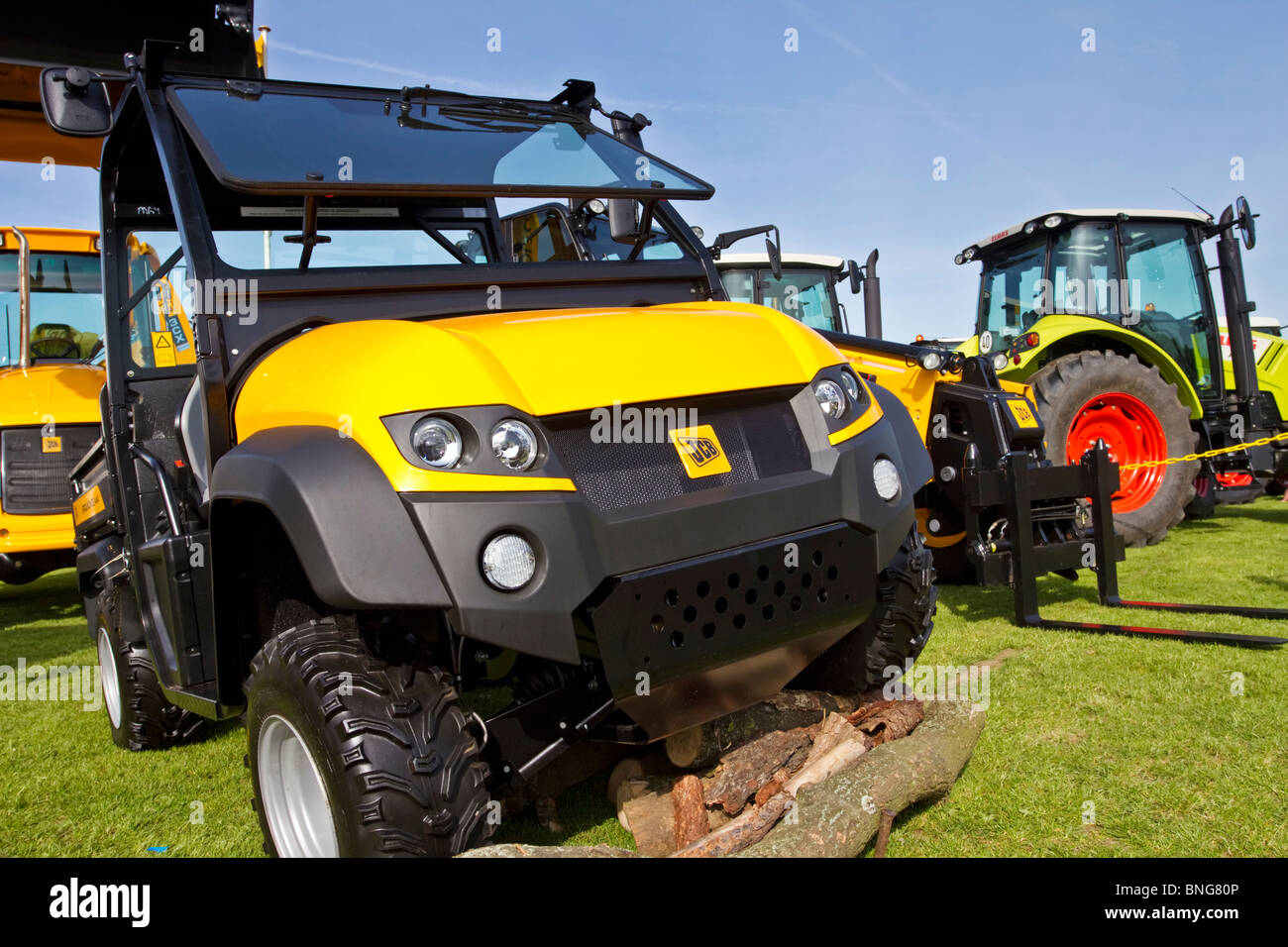 A variety of agricultural vehicles made by JCB on display at the annual Northumberland County Show in Corbridge, - Stock Image