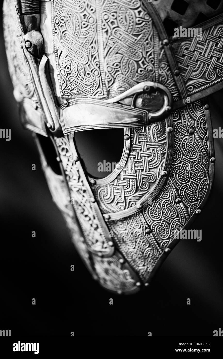 Anglo Saxon replica helmet. Monochrome - Stock Image