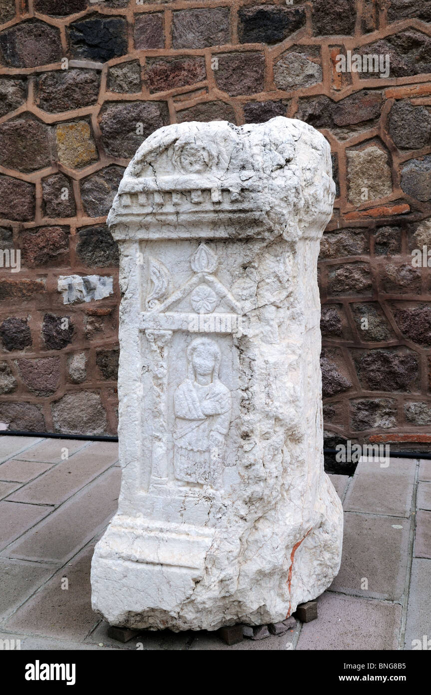 Ancient stone carved tomb stone at the Museum of Anatolian Civilisations Ankara Turkey Asia Minor - Stock Image