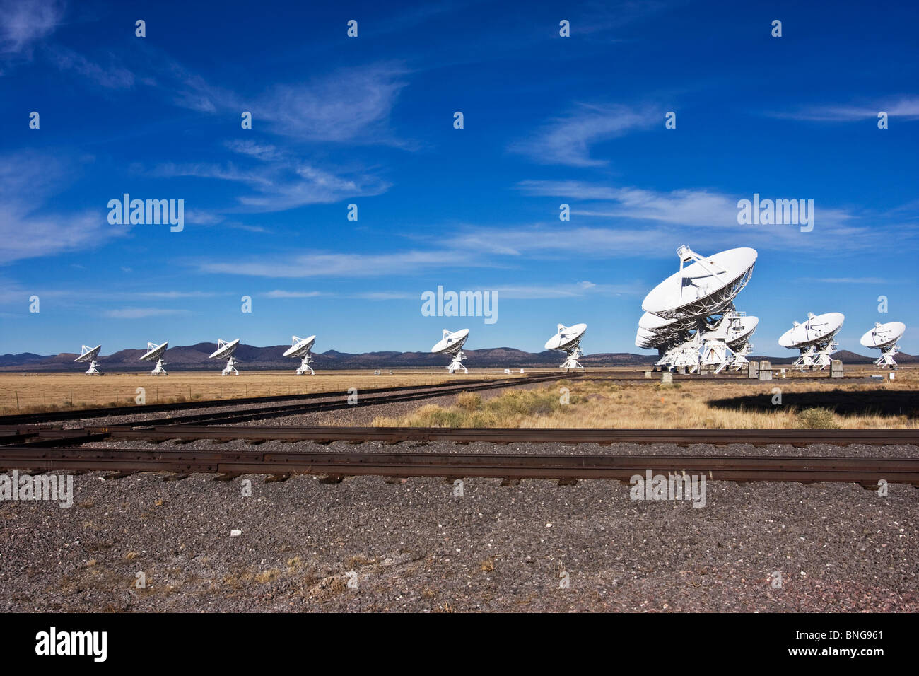 VLA's VERY LARGE ARRAY sit on the PLAINS of San Augustine in New Mexico, USA - Stock Image