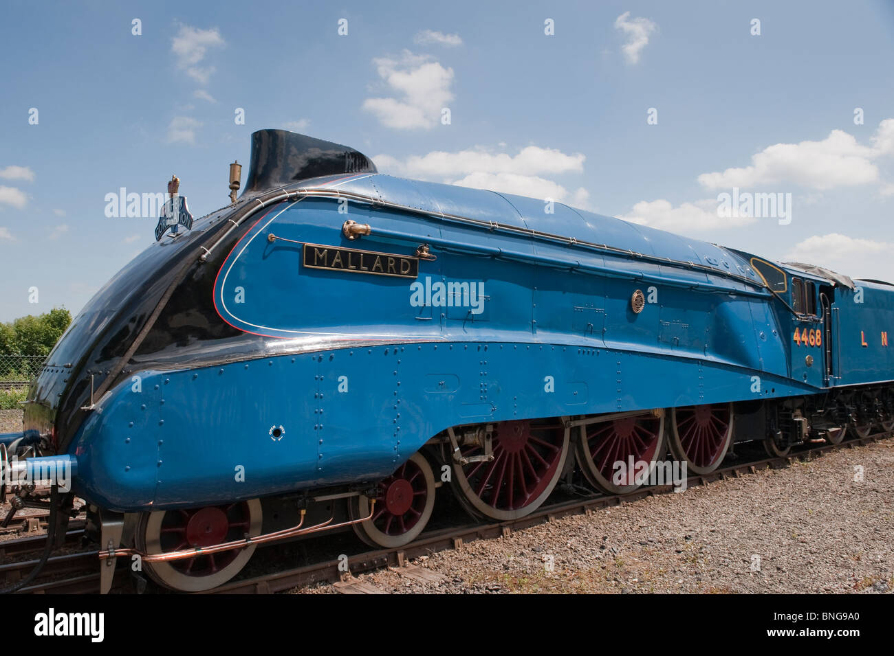 The LNER Class A4 4468 Mallard steam train at the National Railway Museum, York. - Stock Image