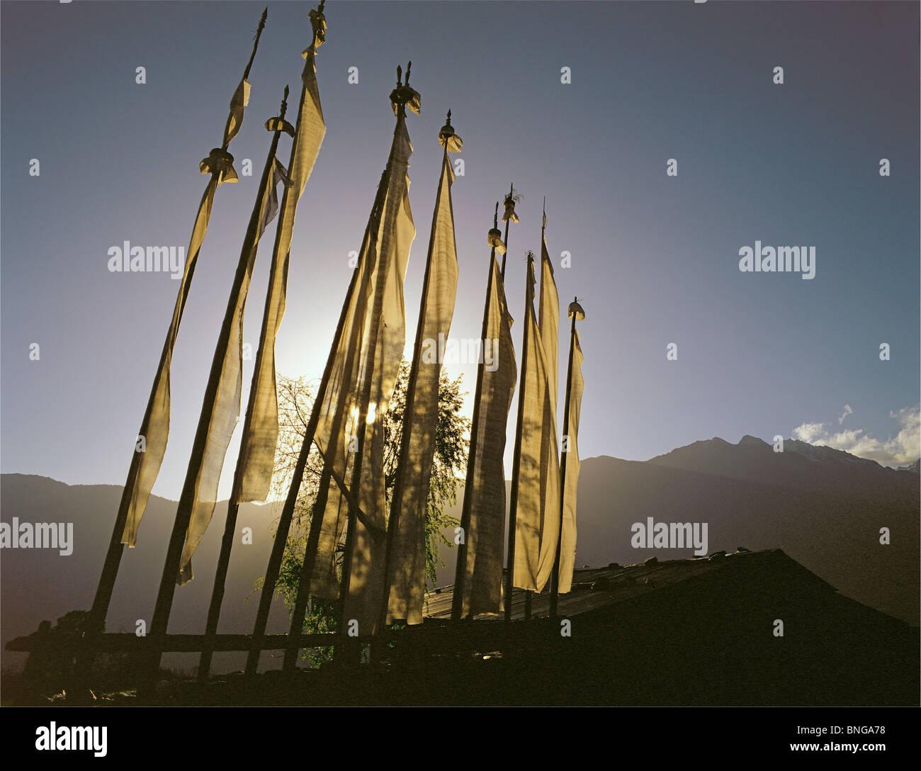 Prayerflags at Shermatang in the Helambu region of central Nepal - Stock Image