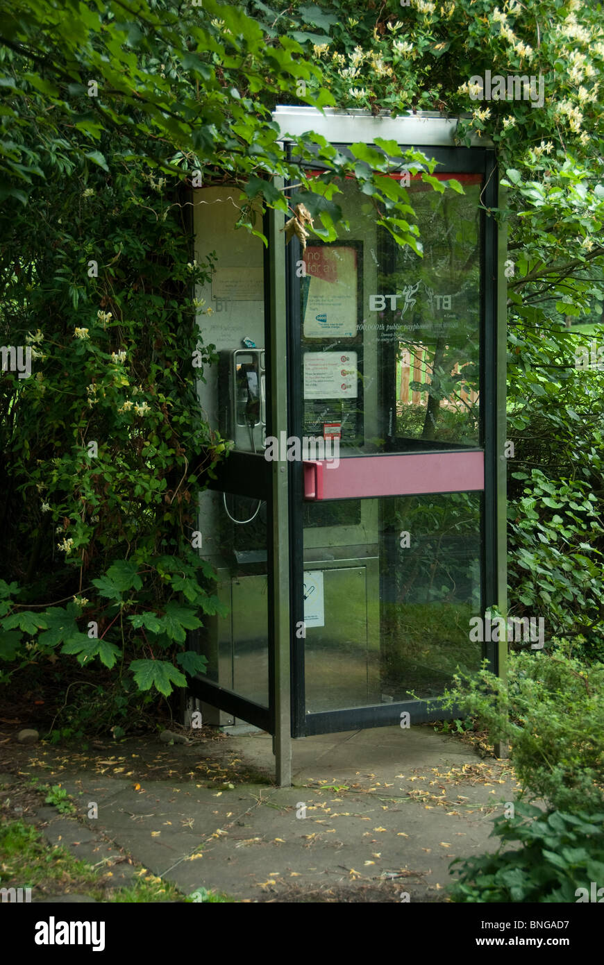 Telephone booth in Dunsop Bridge, Lancashire, said to be the centre point of the United Kingdom - Stock Image