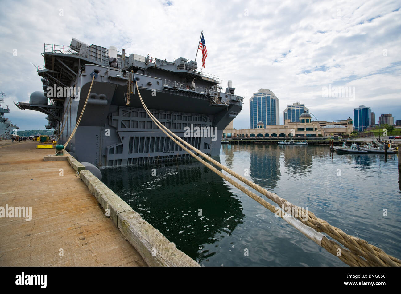 Stern of US Navy amphibious assault ship USS WASP showing the door of the floodable dock for launching landing craft. Stock Photo