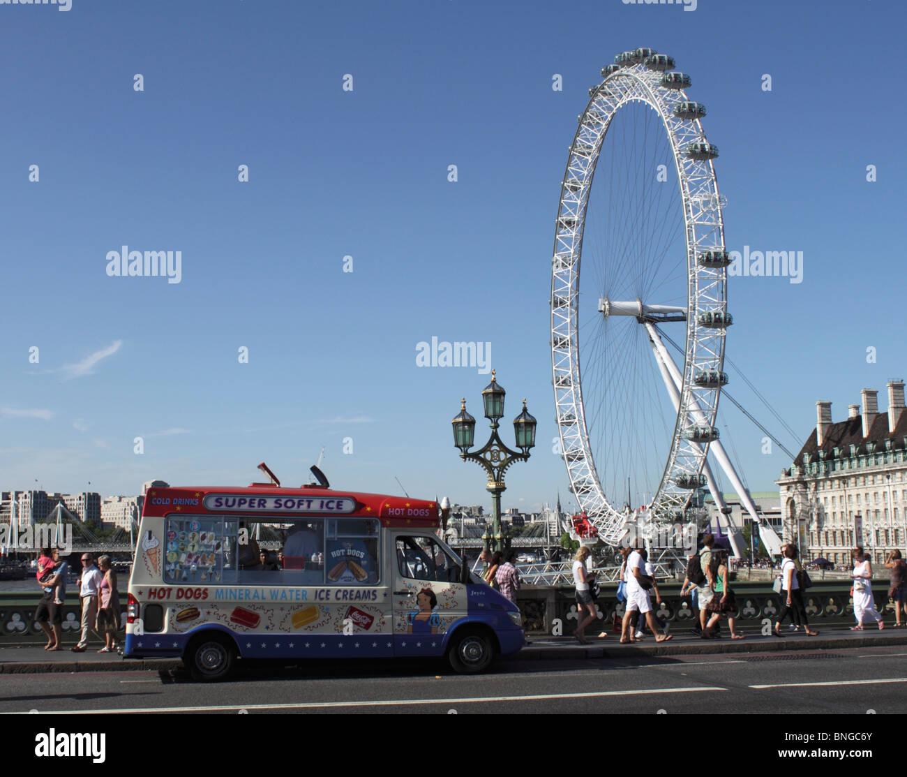Ice Cream Van and London Eye summer 2010 Stock Photo