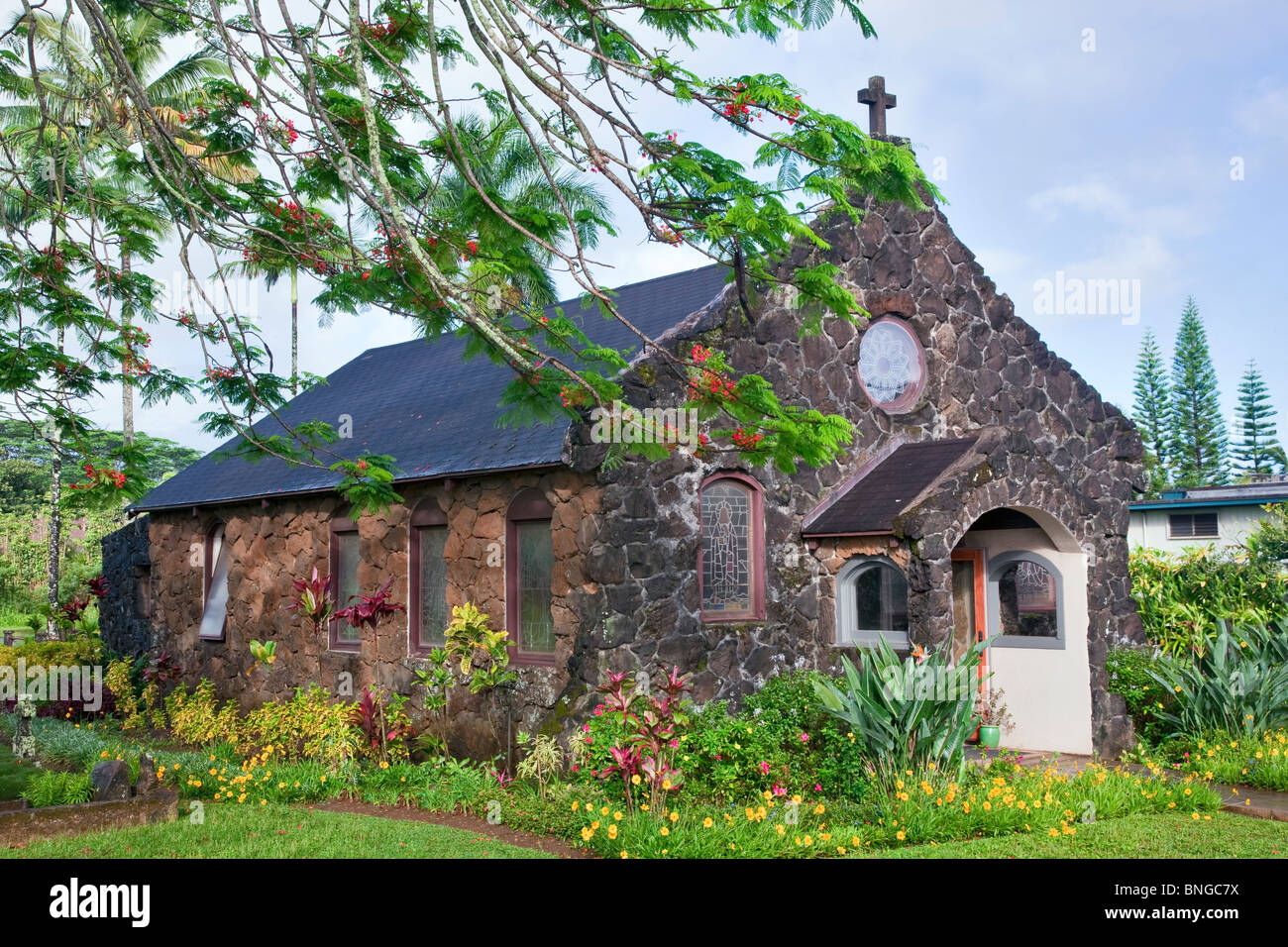 Christ Memorial Episcopal Church. Kauai, Hawaii. - Stock Image