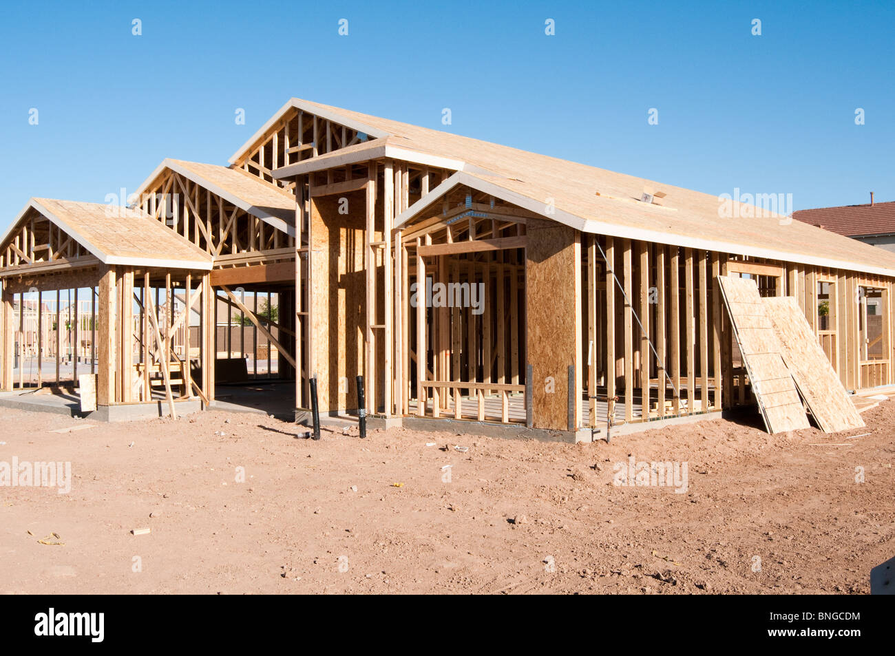 A new wood frame house is under construction in Arizona Stock Photo ...