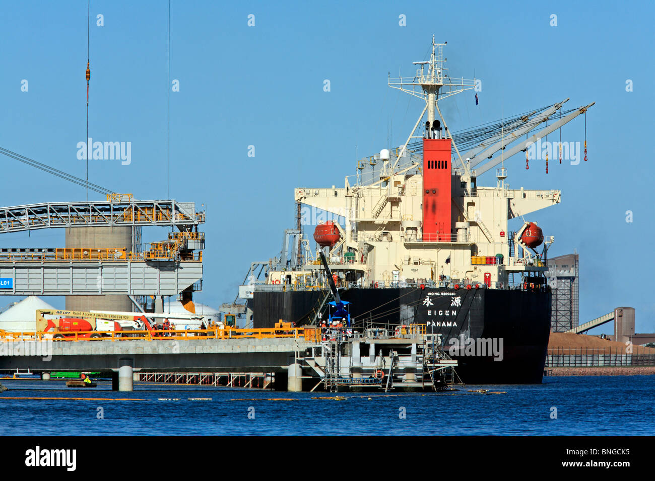 Bulk carrier loading cargo at the port of Newcastle, NSW, Australia - Stock Image
