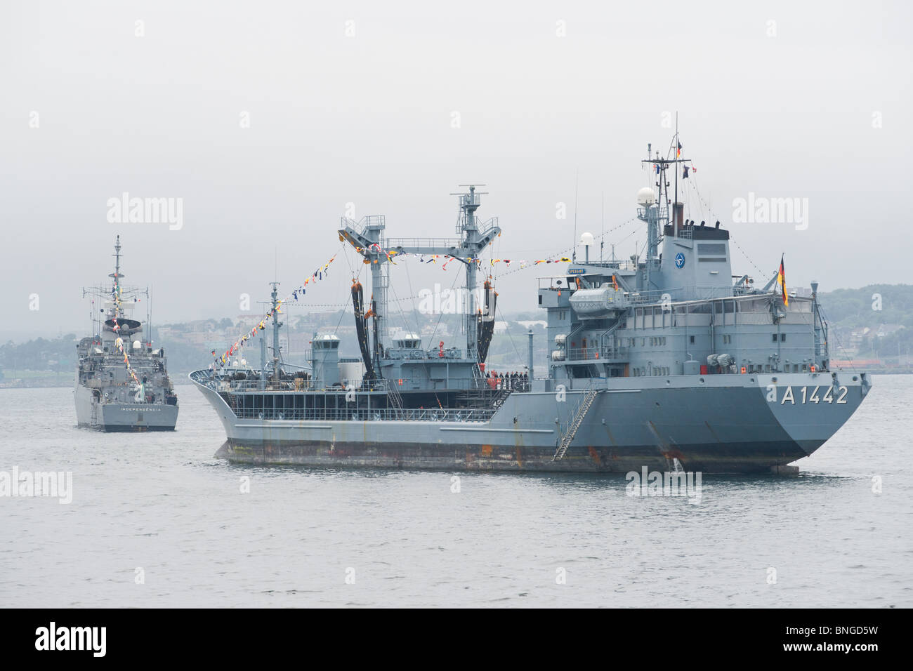 German Navy tanker FGS SPESSART sits at anchor during the 2010 Fleet Review in Halifax, Nova Scotia. - Stock Image