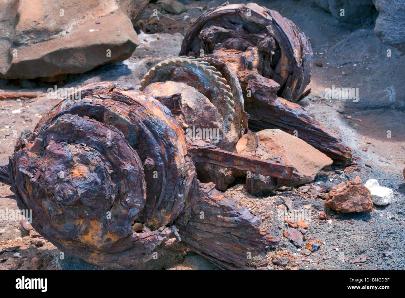 Old junkyard of car and truck parts at seashore. Kauai, Hawaii. - Stock Image