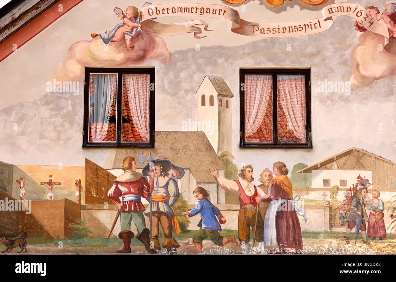 Tromp l'oeil frescoes with scenes of the Oberammergau Passion Plays, Oberammergau, Bavaria, Germany - Stock Image