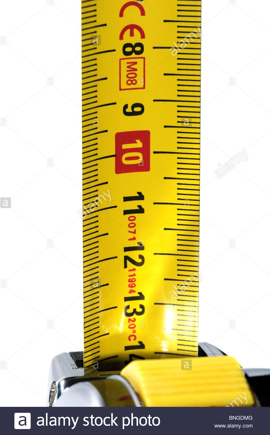 Straight on image of an extended metric tape measure, England - Stock Image