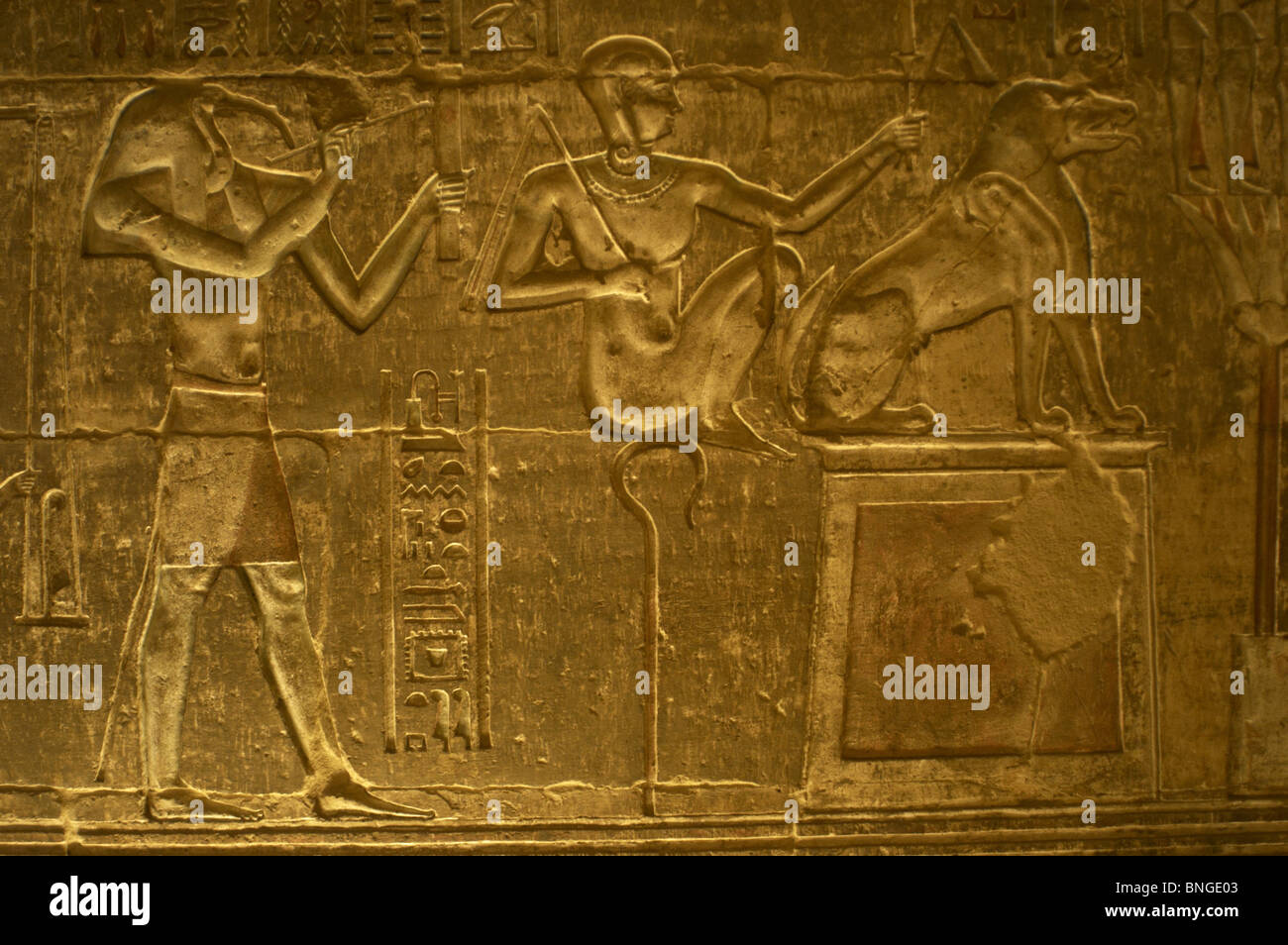 Ptolemaic temple of Hathor and Maat. Gods Thoth, Horus the Younger and Ammit. Deir el-Medina. Egypt. - Stock Image
