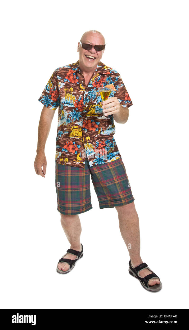 Expressive old man in loud shirt holiday concept isolated against white. - Stock Image