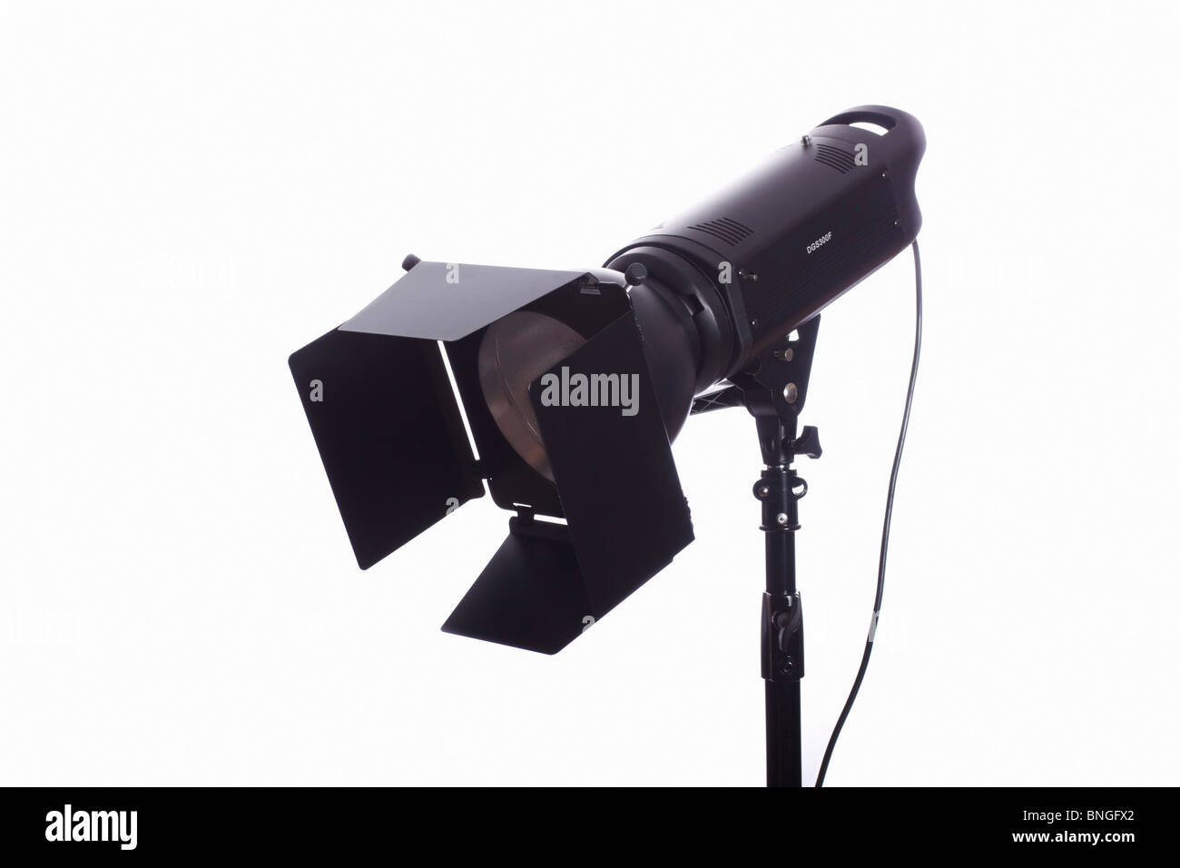 monolight on stand with barn doors used for photographic studio