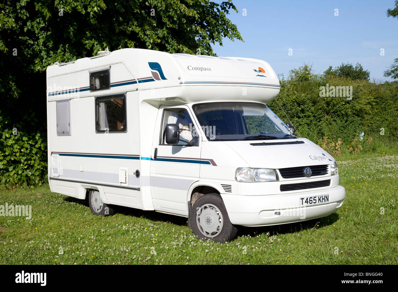 Compass Calypso motor home parked in field UK - Stock Image
