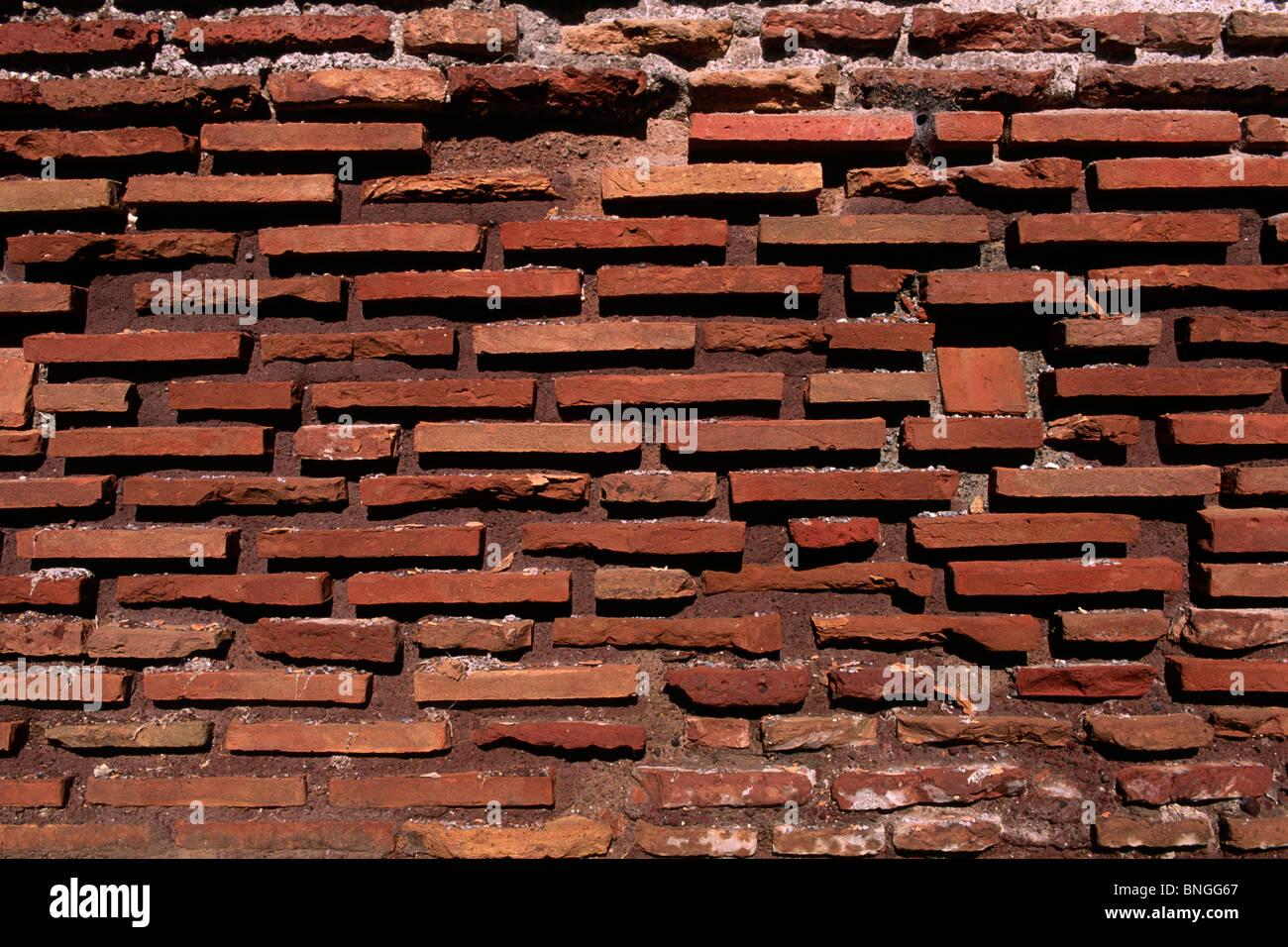 italy, rome, aurelian walls, red bricks close up - Stock Image