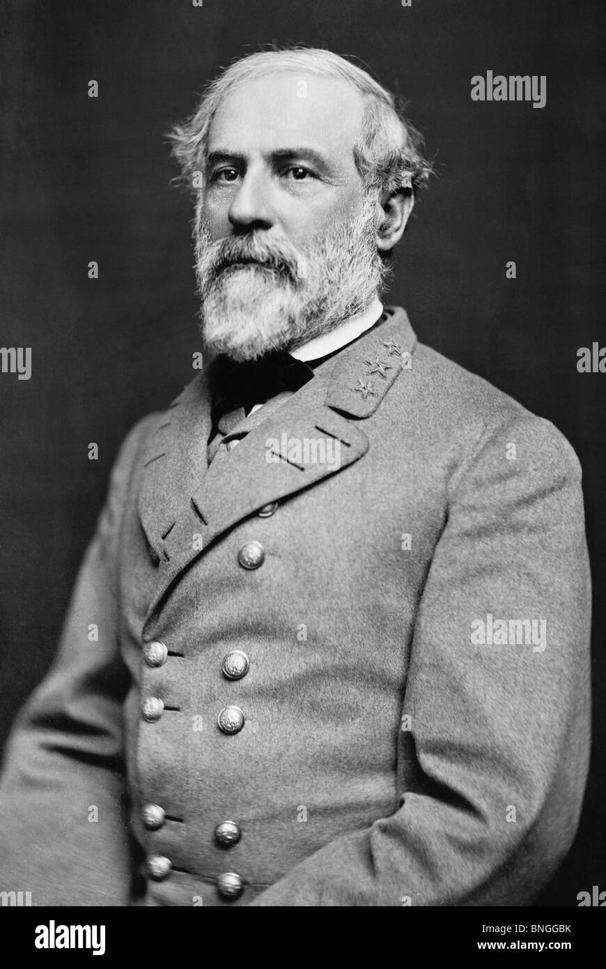 Portrait photo circa 1864 of General Robert E Lee (1807 - 1870) - iconic Confederate commander in the American Civil - Stock Image