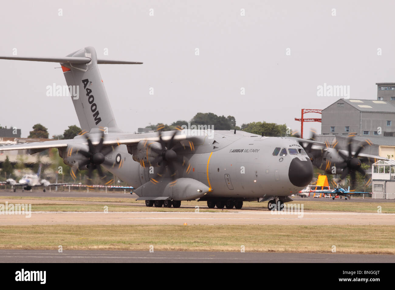 Airbus A400M military transporter aircraft prototype at Farnborough Air Show July 2010 - Stock Image