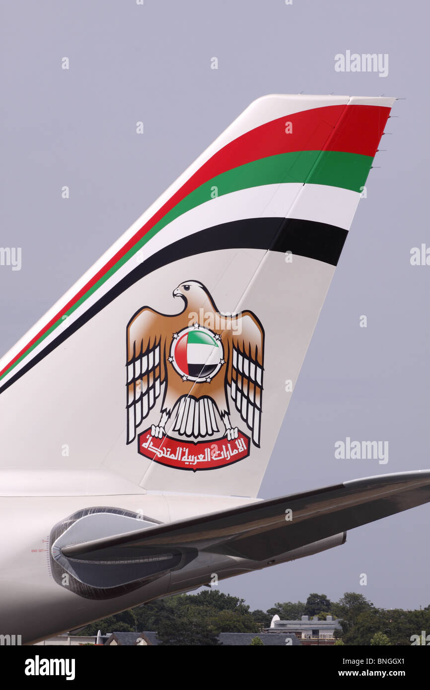 Etihad Airways Airbus A330 tail fin rudder colour scheme Stock Photo