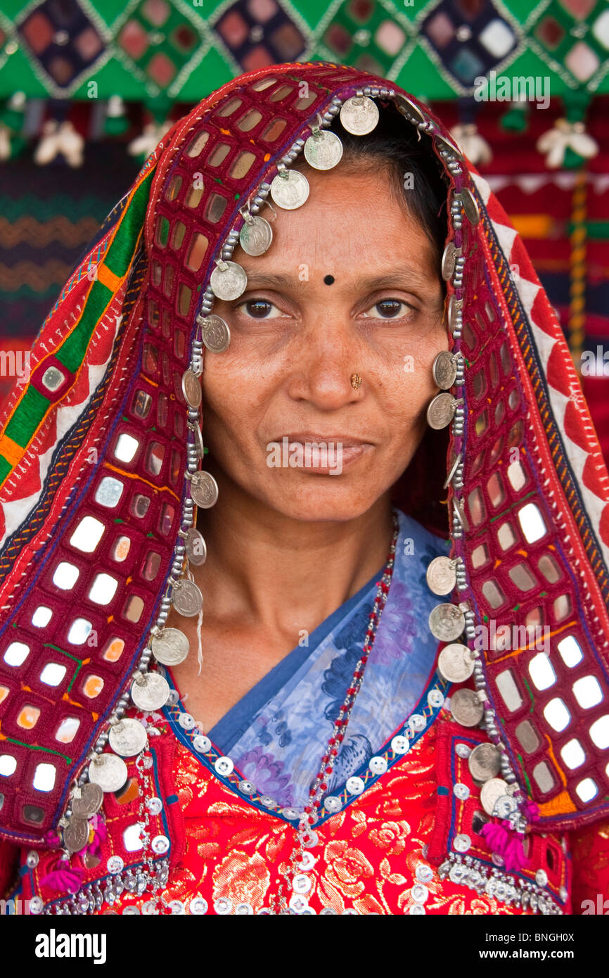 60cca56f72 Portrait of an Indian lady dressed in a colorful traditional wear. - Stock  Image