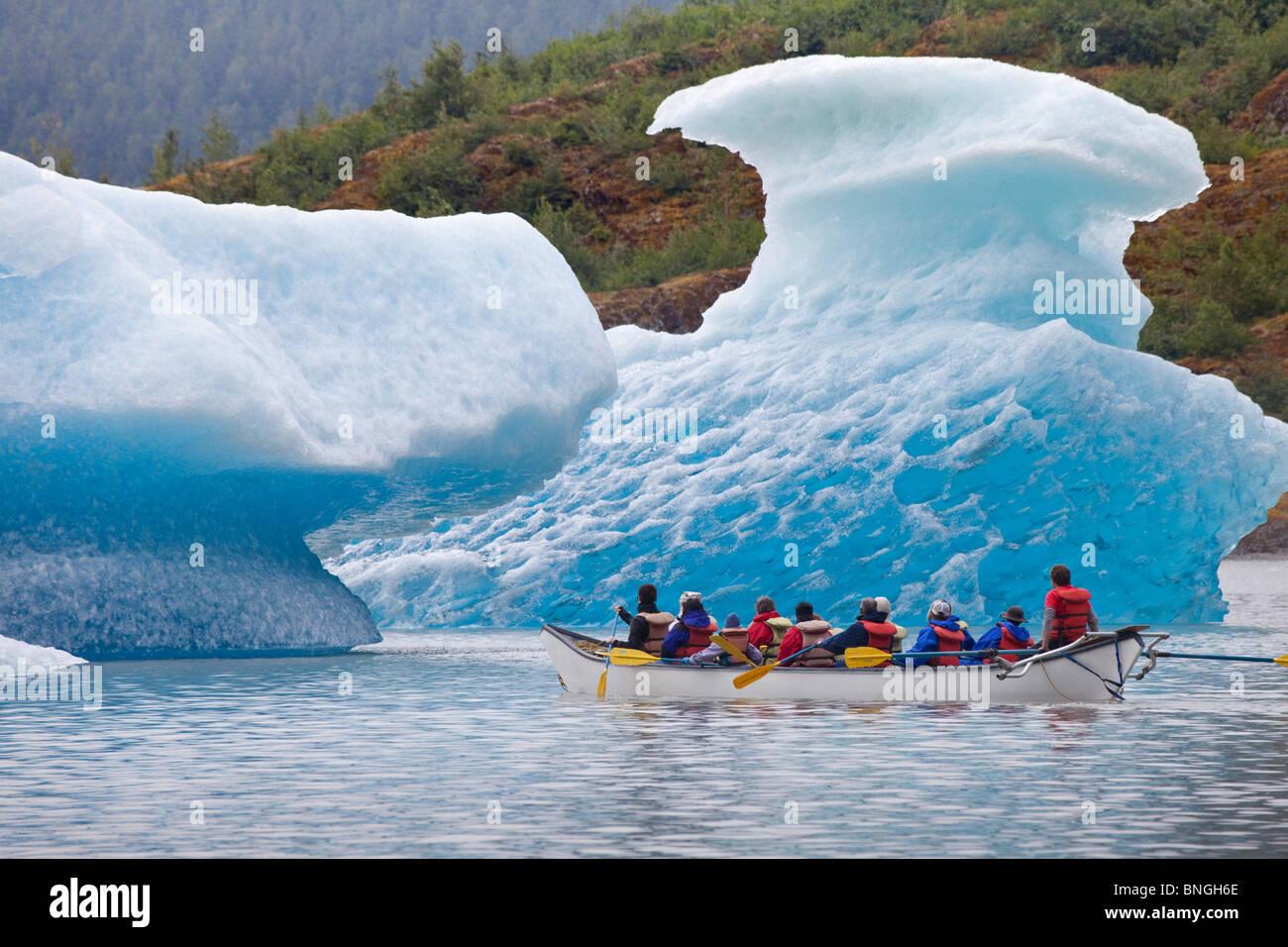Tourists rafting at a lake, Mendenhall Lake, Mendenhall Valley, Mendenhall Glacier, Juneau, Alaska, USA - Stock Image