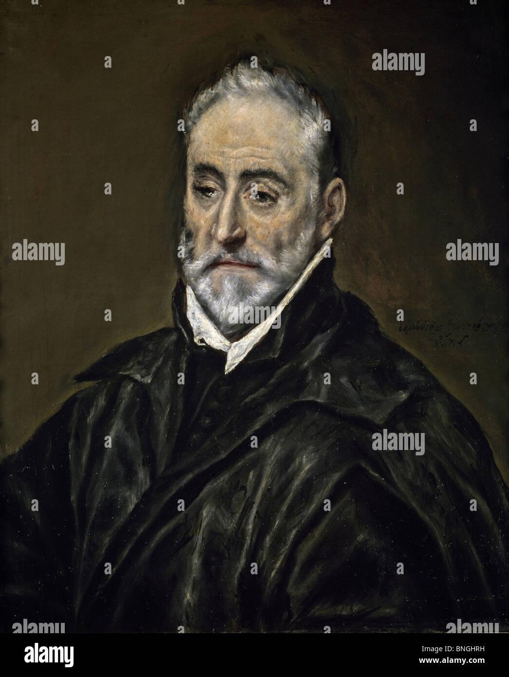 Portrait of Antonio Covarrubias by El Greco, (1541-1614), Spain, Madrid, Museo del Prado - Stock Image
