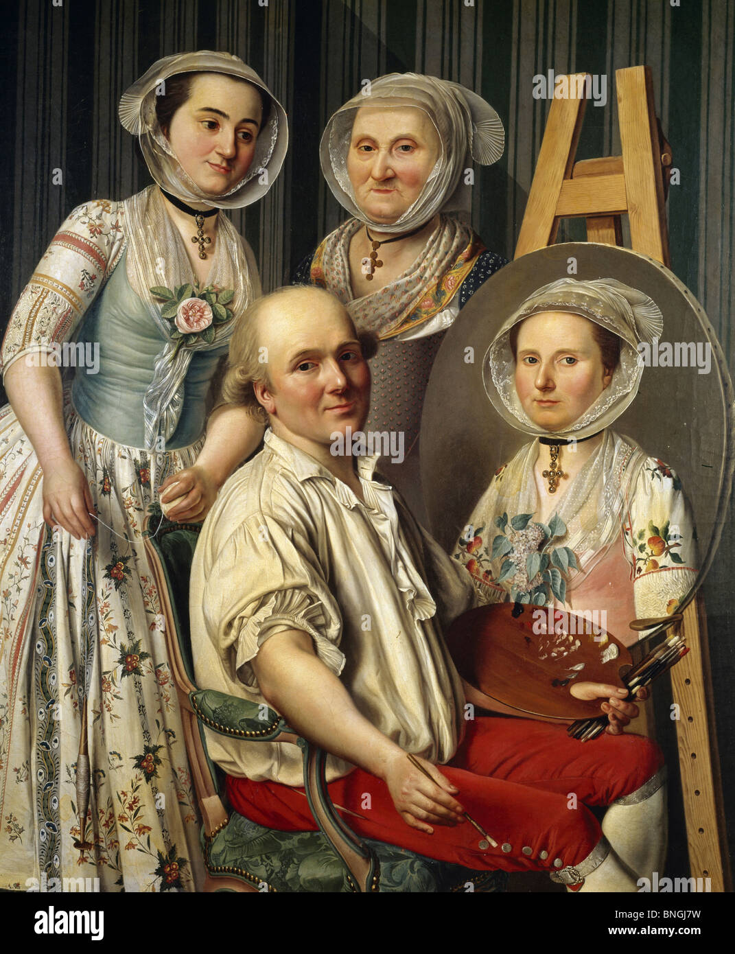 The Artist and his Family by Antoine Raspal, (1738-1811), France, Arles, Musee des Beaux Arts - Stock Image