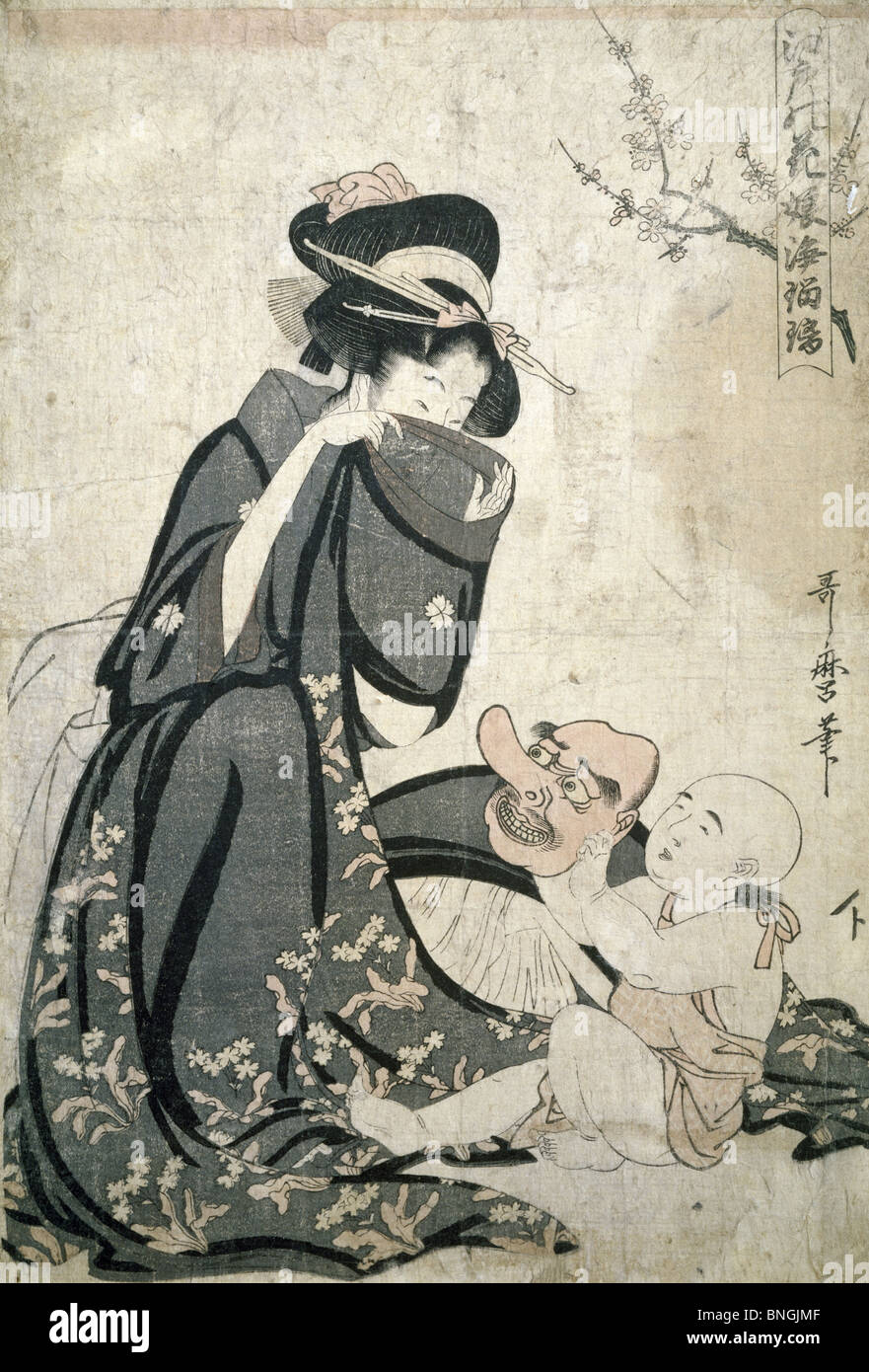 Woman in Kimono, Japanese woodcut - Stock Image