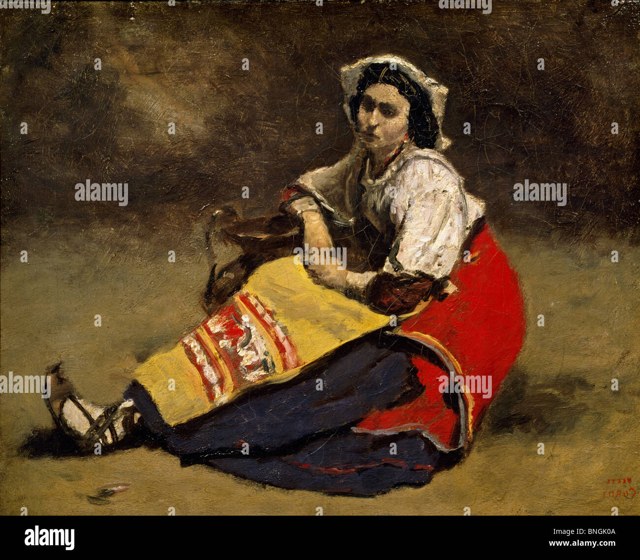 Seated Italian Woman by Jean Baptiste Camille Corot, (1796-1875), Switzeland, Zurich, Private Collection - Stock Image