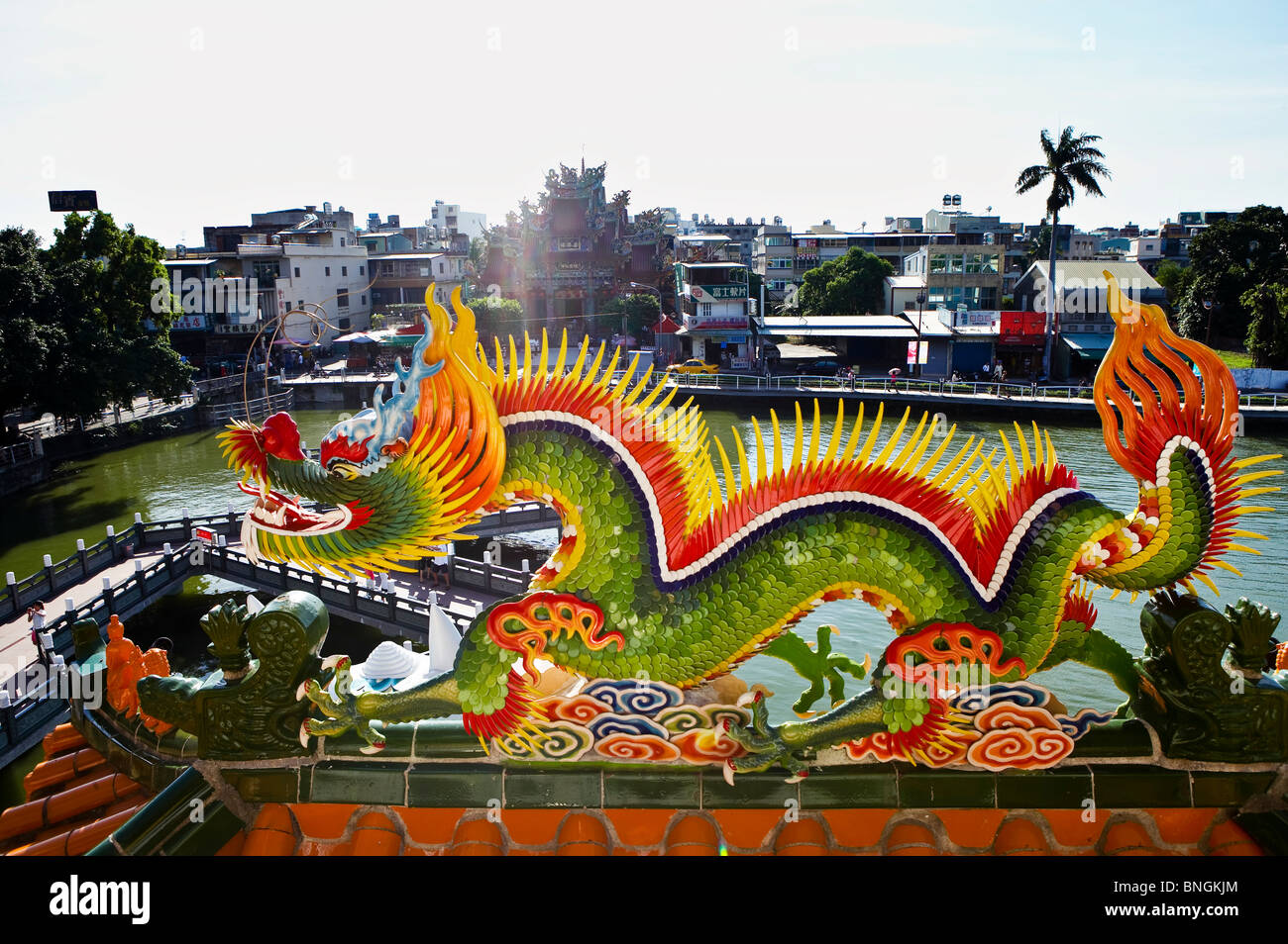 Dragon statue on roof top.  in Kaohsiung City, Sothern Taiwan Stock Photo
