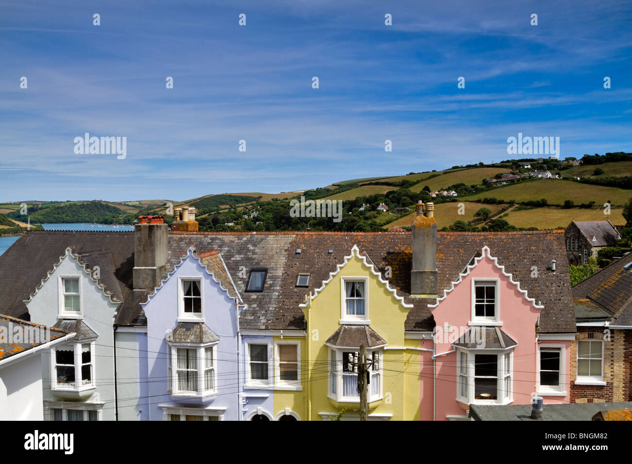 Colourful row of houses, Salcombe, Devon. Steep streets of this holiday town overlook Kingsbridge Estuary and Portlemouth - Stock Image
