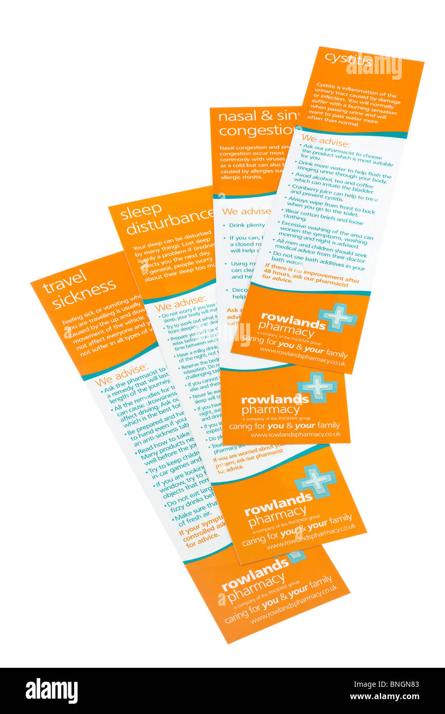 Rowlands Pharmacy ailment advisory leaflets.  EDITORIAL ONLY - Stock Image