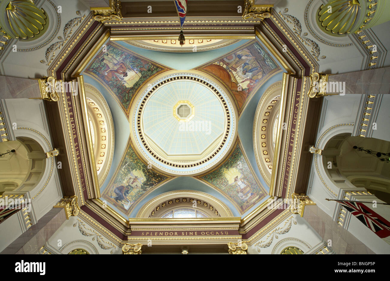 Canada british columbia victoria parliament buildings murals on ceiling low angle view