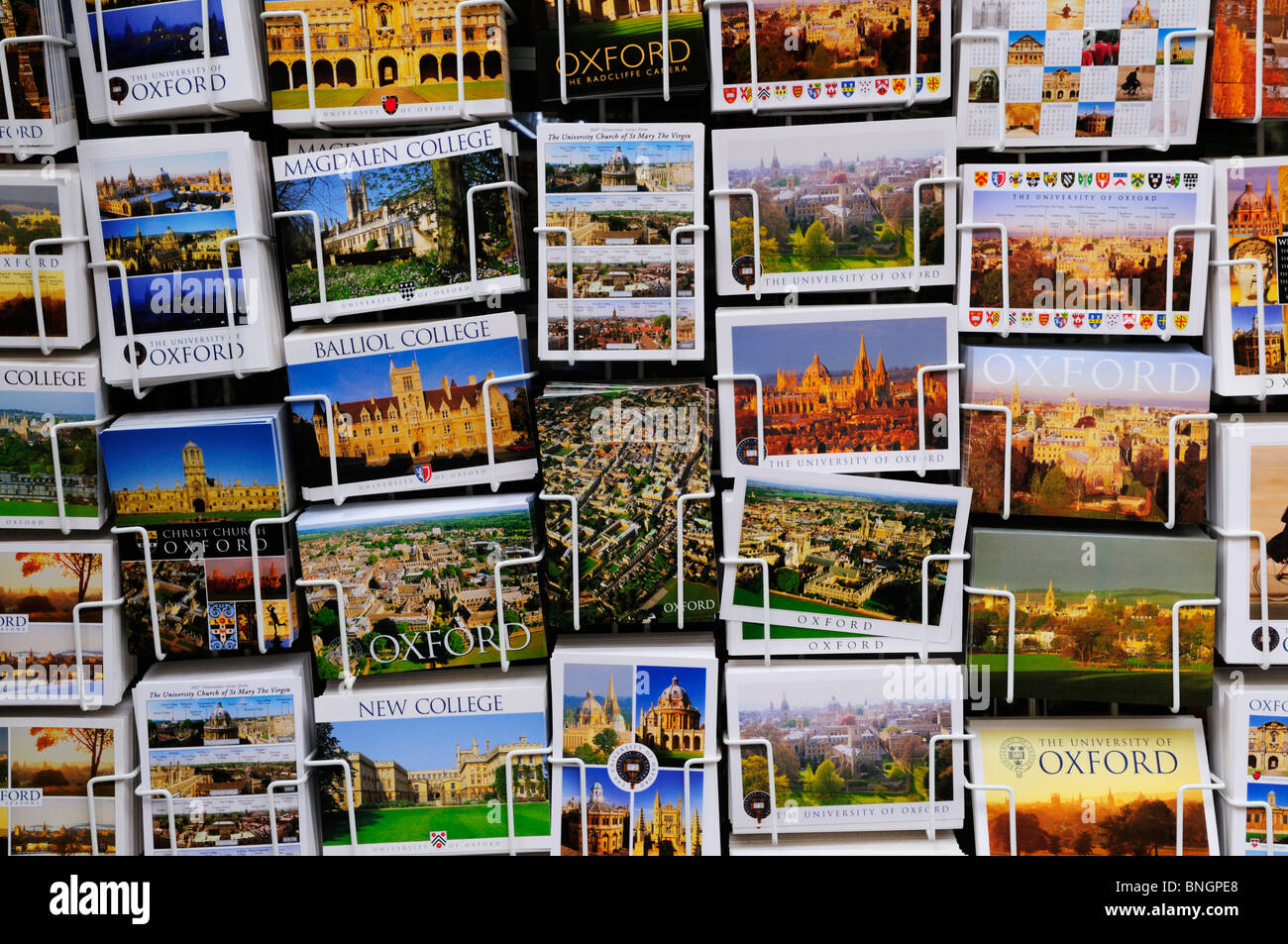 A Rack of Postcards of Oxford Colleges, Oxford, England, UK - Stock Image