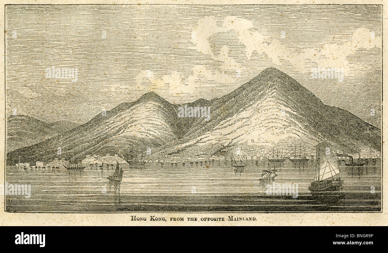 Circa 1810 engraving, view of 'Hong Kong, from the opposite Mainland.' - Stock Image