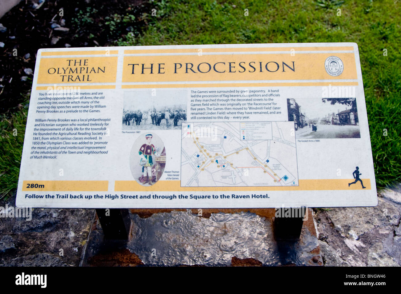 Information board in Much Wenlock detailing The Olympian Trail - Stock Image