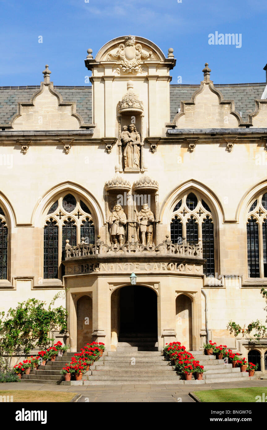 Portico in First Quad, Oriel College, Oxford, England, UK - Stock Image