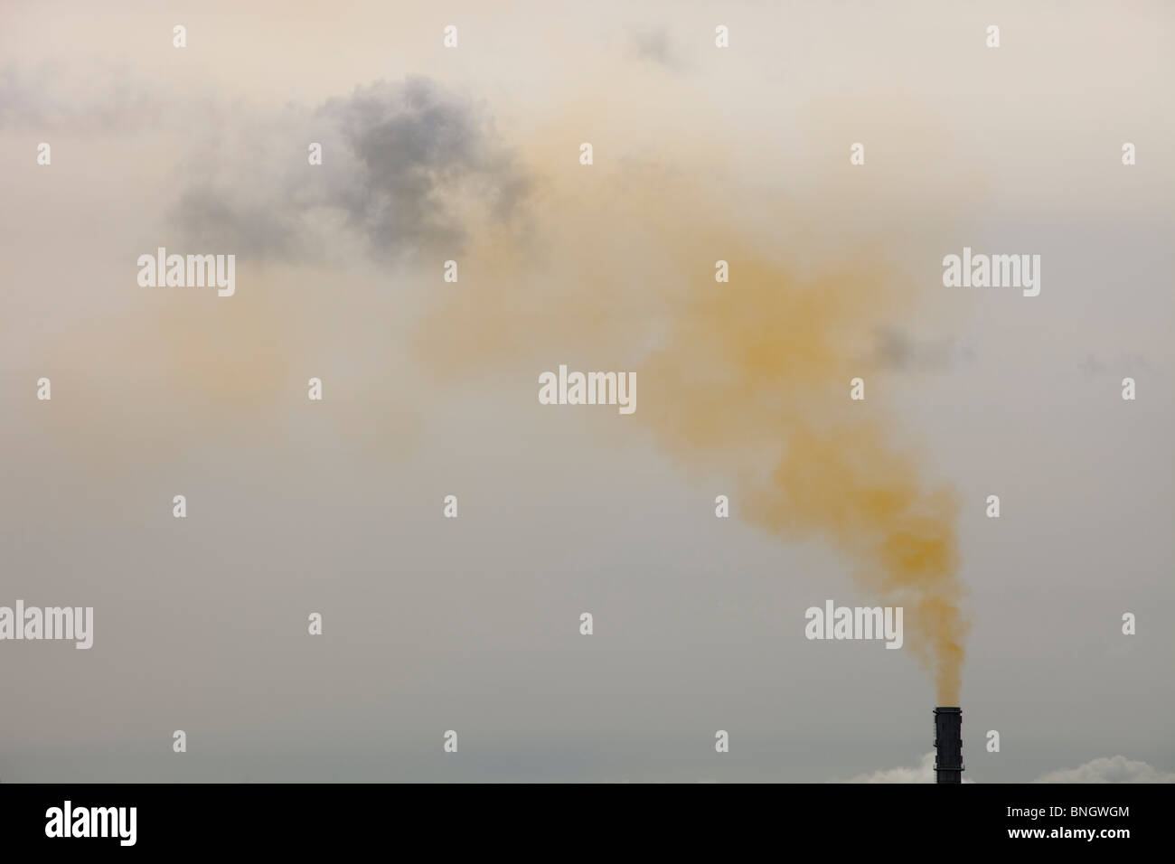 Polluted emissions from a gas fired power plant in Barrow in Furness, Cumbria, UK. - Stock Image