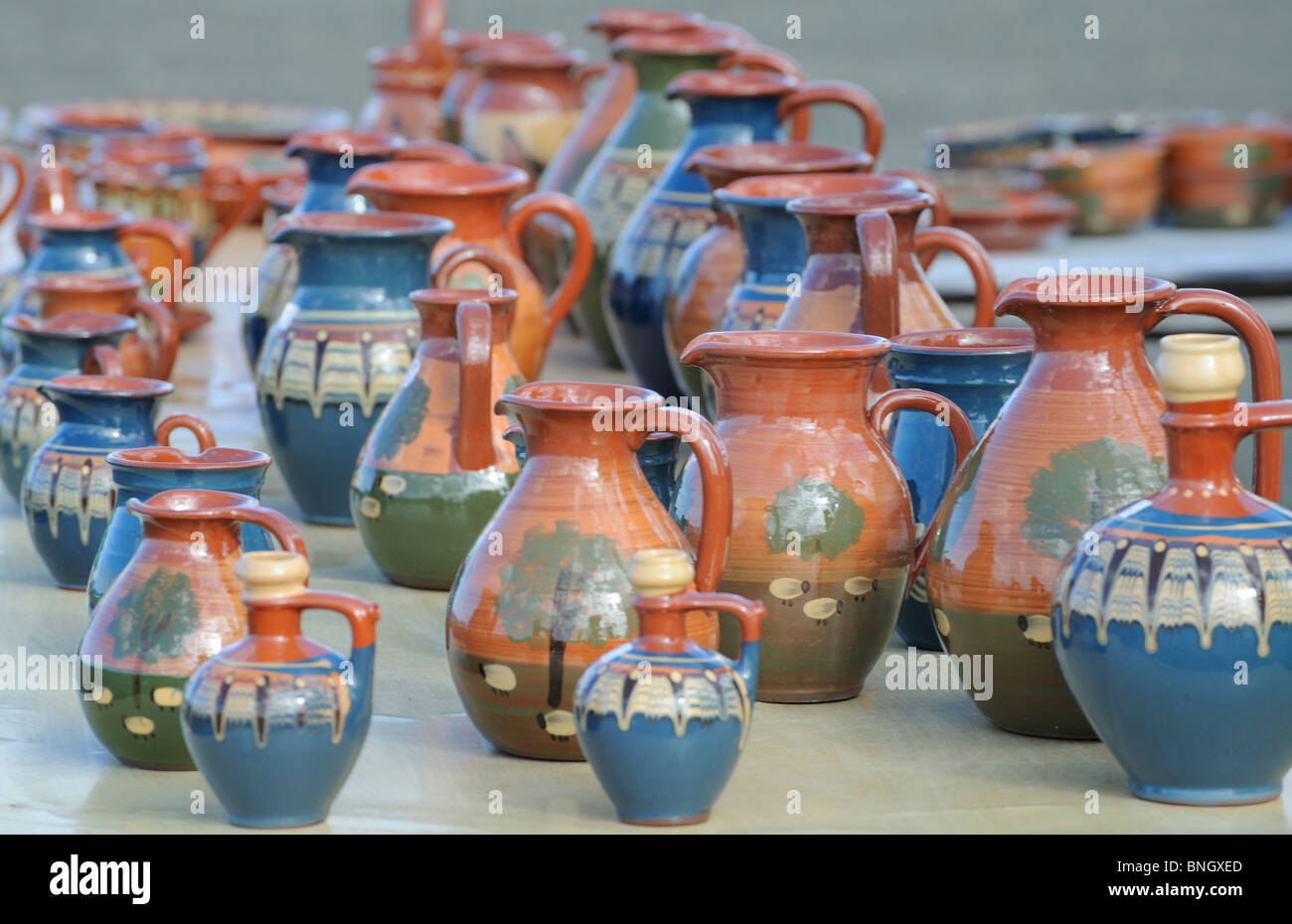 Terracotta Souvenirs from Cyprus pottery Paphos Pafos Cyprus earth tones gifts - Stock Image