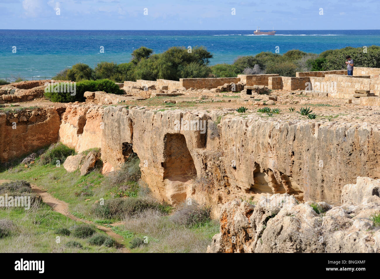 Tombs of the Kings are an early necropolis in Paphos Cyprus burial niches Ancient Greek burial site 300 BC Ptolemaic - Stock Image