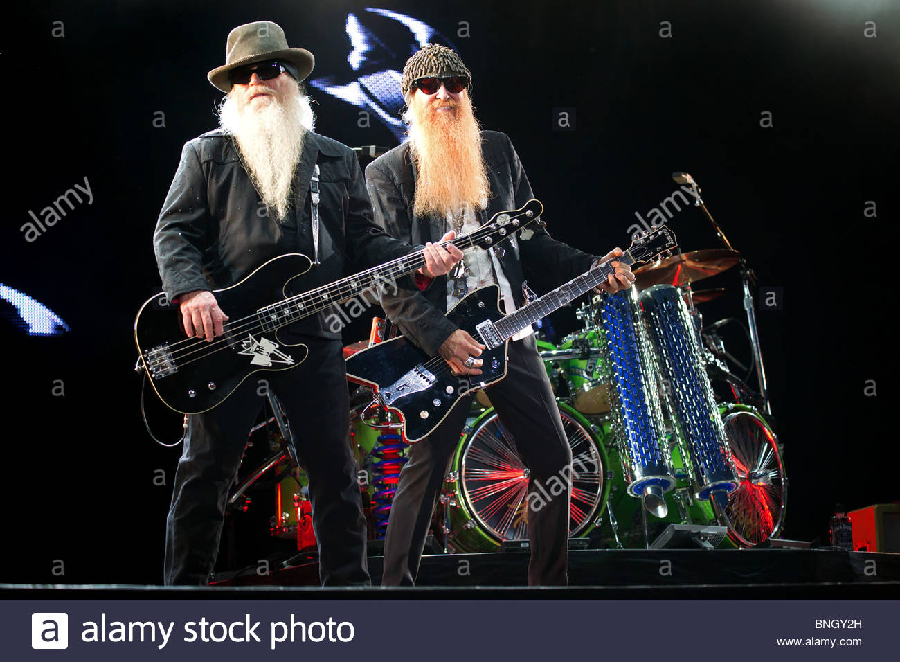 Texas blues rock band ZZ TOP performing live in july 2010 - Stock Image