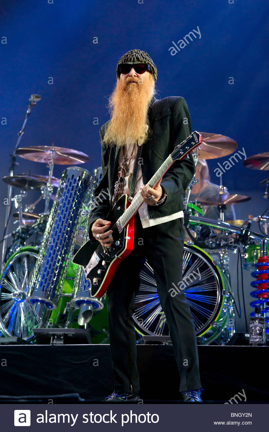 Billy Gibbons also known as Reverend Willie G lead singer and guitar player of texas blues rock band ZZ TOP performing - Stock Image