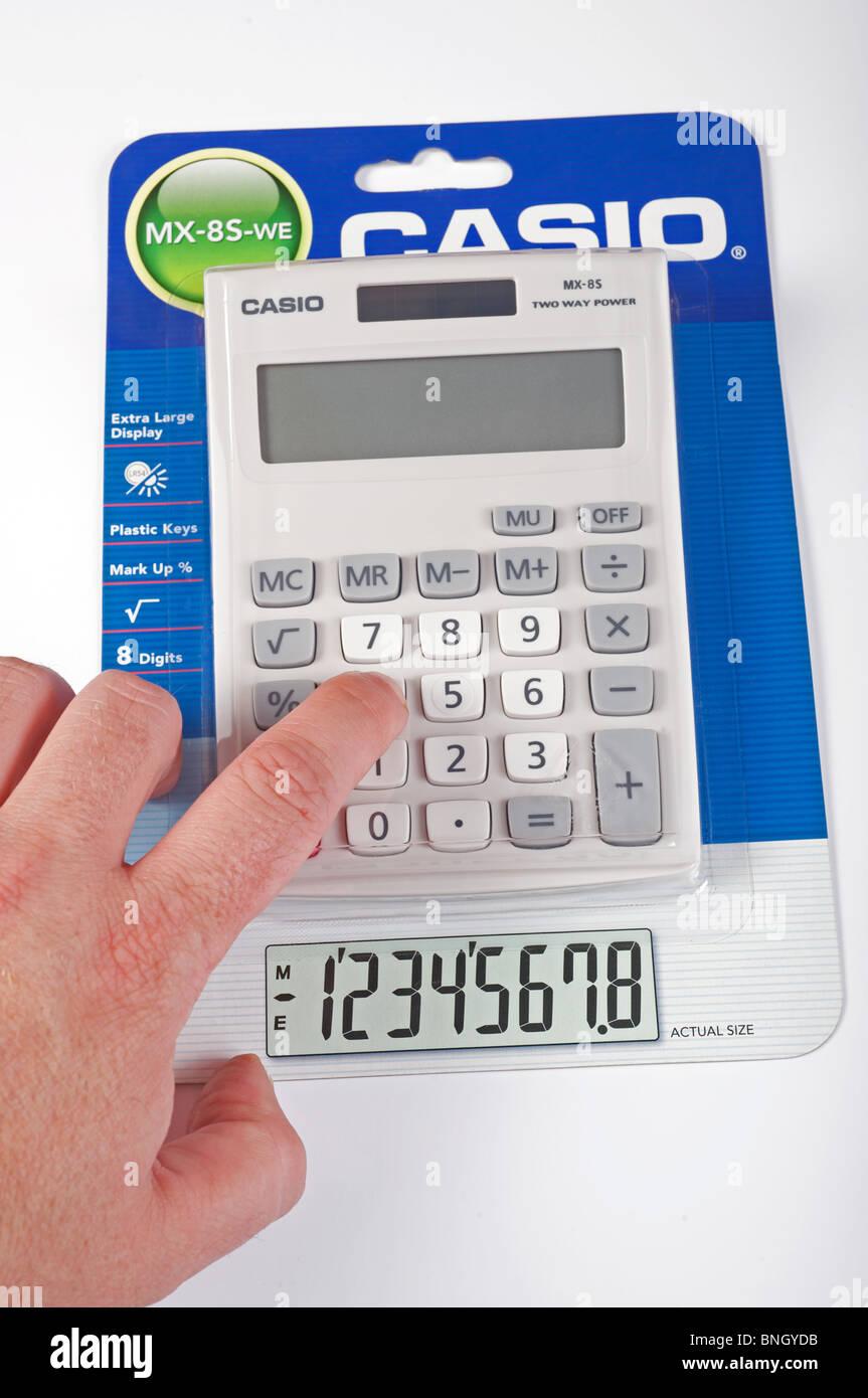 Casio MX-85-WE solar powered desktop calculator - Stock Image