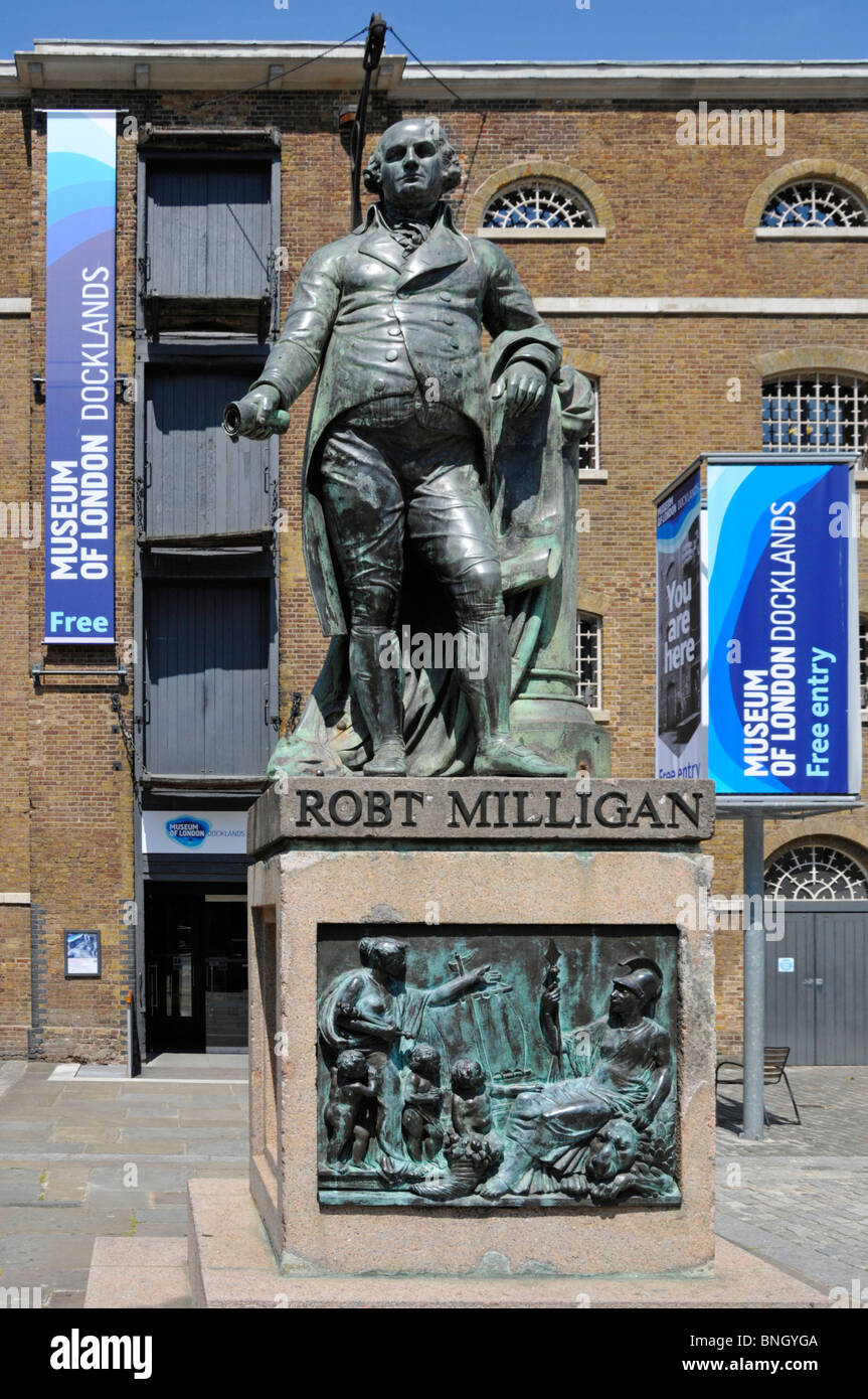 Statue Robert Milligan at Museum of London Docklands both linked to history of London River Thames & growth - Stock Image