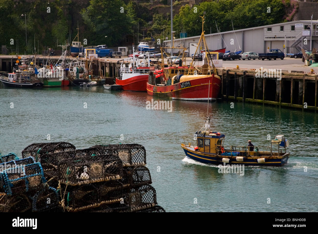 Fishing Boat and Harbour, Dunmore East, County Waterford, Ireland - Stock Image