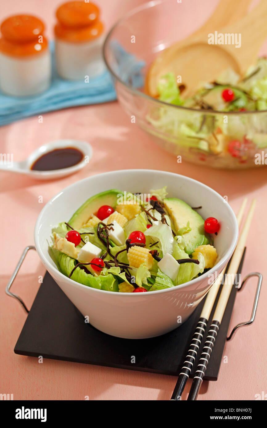 Salad with japanese seaweeds. Step by step: PGGK6N-PGGK75-PGGK7N-PGGK88 - Stock Image