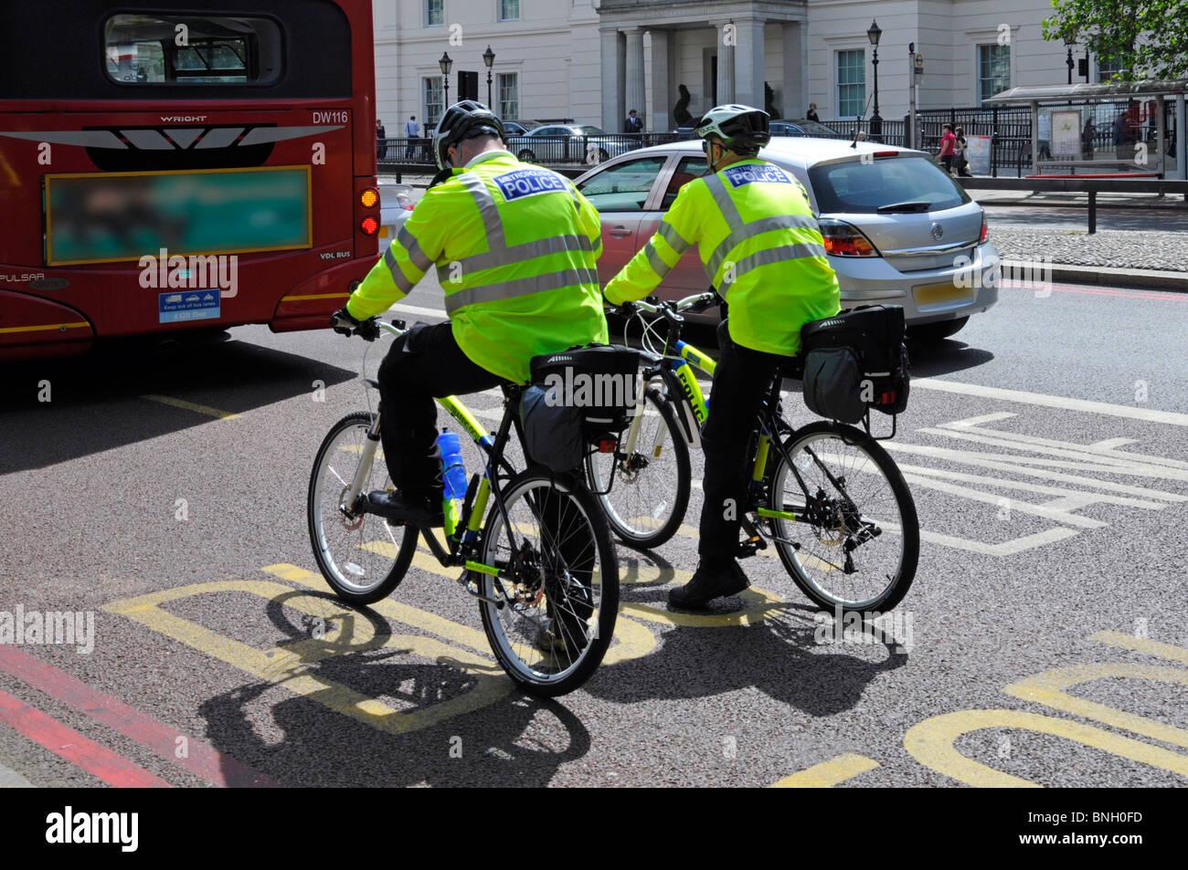Metropolitan Police officers on bikes - Stock Image