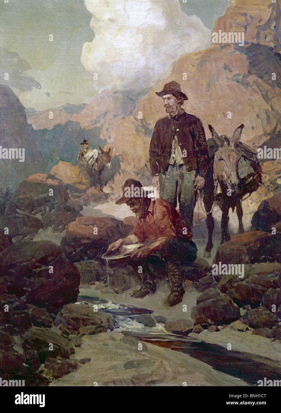 The Miners During the Gold Rush, 1849 in California, Ben Johnson (b.20th C. American) - Stock Image