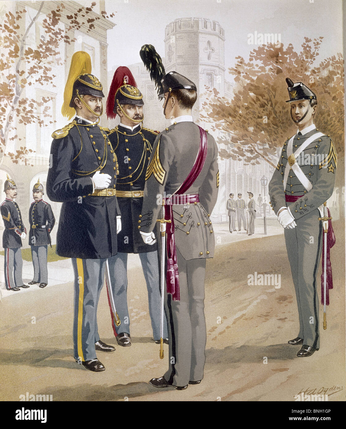 Officers  Cavalry  and Artillery Cadets form United States Military Academy in full dress by Henry Alexander Ogden - Stock Image